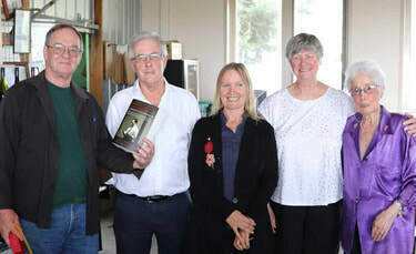 The writers group at the prize giving for the 2019 Bass Coast Prize for Non-Fiction: from left, Malcolm Brodie, Don Watson (guest speaker), Julie Constable, Christine Grayden and Phyllis Papps.