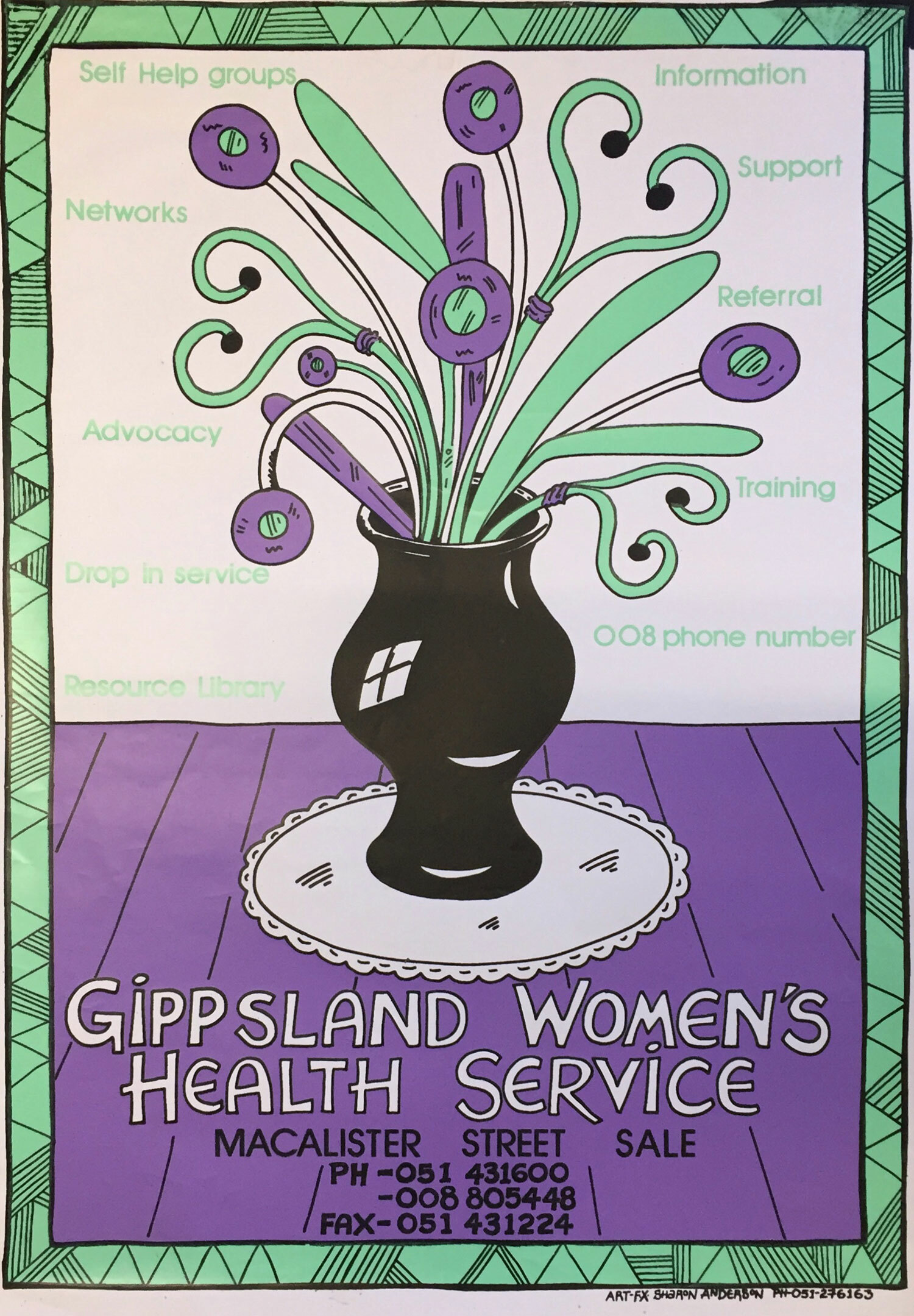 Gippsland Women's Health Service / A2 - This was an important poster because I had repeat prints down the years and, recently, I have also printed a version on tea towels. The vase of doctors' instruments was  a bit of a woman's in-joke and made this poster very memorable.