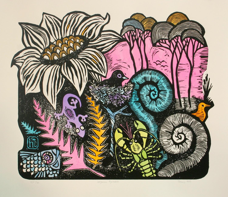 Indigenous Psychedelia, multi-block linocut, hand-coloured