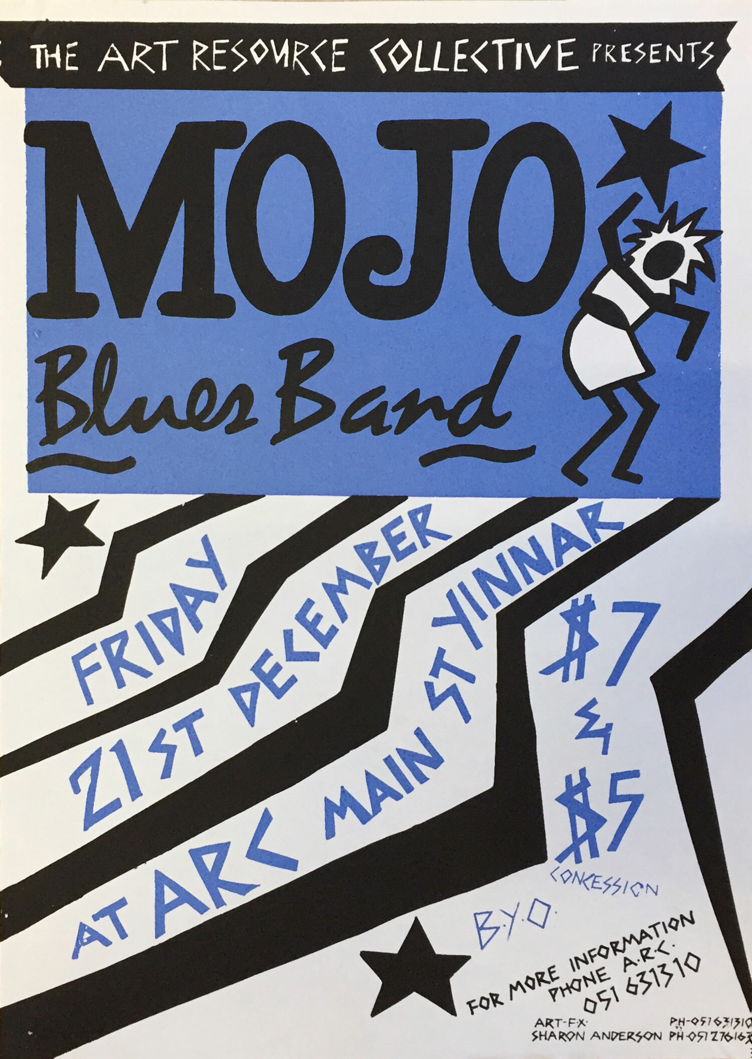 Mojo Blues Band / A3 on Cartridge Paper - arc was doing great things in the music scene. I think the Switchroom was just coming into being and arc was supporting lots of acts, both locally and wider afield. I didn't know much about Mojo, but I was somehow inspired to create this poster. Definitely a 90s poster.